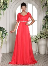 Cheap Custom Made Coral Red Beading 2013 Prom Dress