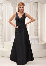V-neck Black Modest 2013 Prom Dress For Formal Evening Cheap