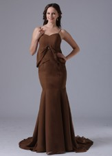 Cheap Modest Brown Spagetti Straps Mermaid 2013 Prom Dresses