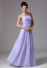 Cheap Lilac Halter Long Ruching Prom Dress