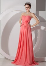 Watermelon Sweetheart Cheap Ruching Hand Made Flowers Prom Dress