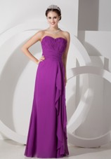 Purple Empire Sweetheart Cheap Long Chiffon Ruching Prom Dresses