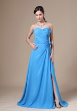 Cheap Teal High Slit Sweetheart Ruchng Prom Evening Dress