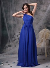 Blue Empire One Shoulder Cheap Chiffon Beading Prom Dress