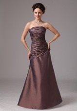 Cheap Brown Ruching Prom Dress For Custom Made