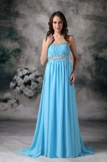 Baby Blue Empire Strapless Cheap Chiffon Beading Prom Evening Dress