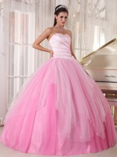 Pink Sweetheart Cheap Tulle Beading Quinceanera Dress