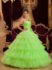 Cheap Lemon Green Princess Tiered Quinceanera Dress
