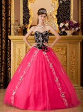 New Style Black and Hot Pink Sweetheart Quinceanera Dress