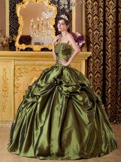 Cheap Olive Green Strapless Taffeta Quinceanera Dress