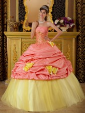 Watermelon Red Strapless Quinceanera Dress with Yellow