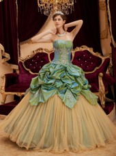 Hot Selling Olive Green and Champagne Quinceanera Dress