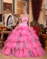 Cheap Rose Pink Quinceanera Dress Sweetheart Beading