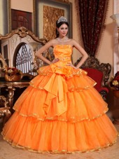 Orange Cheap Quinceanera Dress Strapless Organza Ruffles