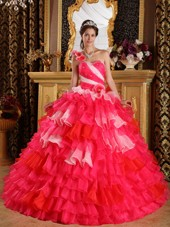 Multi 3 Colored One Shoulder Ruffles Quinceanera Dress
