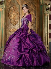 Elegant Purple Strapless Taffeta Embroidery Quinceanera Dress