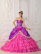 Hot Pink Strapless Layered Quinceanera Dress with Big Train