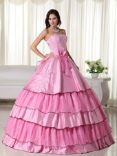Cheap Rose Pink Beaded Quinceanera Dress Corset Back