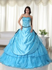 Cheap Aqua Strapless Embroidery Quinceanera Dress