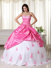 Pink and White Sweetheart Quinceanera Dress with Appliques