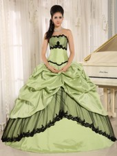 Cheap Sage and Black Pick-ups Quinceanera Dress