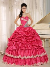 2013 Hot Pink Pick Ups Quinceanera Dress with Appliques