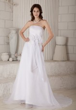Lovely Column Strapless Court Train Wedding Dress
