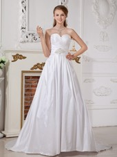 Modern Sweetheart Court Train Taffeta Wedding Gown
