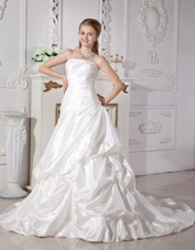 Cheap A-line Court Train Pick-ups Wedding Dress