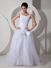 Cheap Scoop Court Train Tulle Bows Wedding Dress