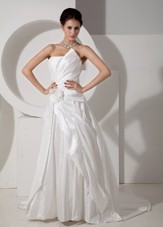 Modest A-line Strapless Court Train Satin Wedding Dress