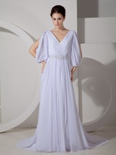 Cheap Empire V-neck Brush Train Chiffon Wedding Dress