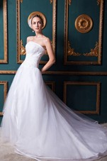 Cheap Strapless A-line Chapel Train Wedding Gown