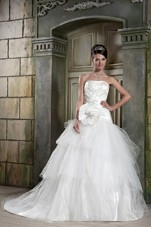 A-line Cheap Wedding Dress Strapless Chapel Train Tulle