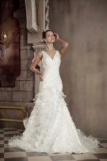 Exclusive Bridal Wedding Dress Mermaid Cheap V-neck Organza