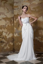 Column Cheap Sweetheart Chiffon Beading Wedding Dress