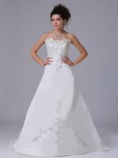 Embroidery Strapless Taffeta Brush A-Line Wedding Dress