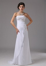 Appliques Column Brush Train Wedding Dress Strapless