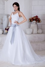 A-line Straps Court Train Organza Sashes Wedding Dress