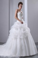 A-line Spaghetti Straps Chapel Train Bridal Wedding Gown
