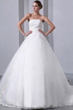 Strapless Chapel Train Satin Organza Wedding Dress