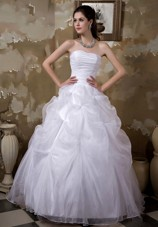 Strapless Floor-length Taffeta Organza Pick-ups Wedding Dress
