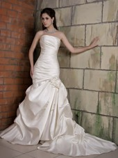Mermaid Strapless Chapel Train Taffeta Floral Wedding Dress
