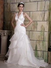 Mermaid Halter Court Train Taffeta Beading Wedding Dress