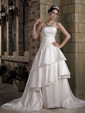 Strapless Wedding Dress Court Train A-line Taffeta Appliques