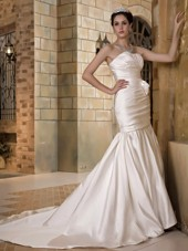 Mermaid Wedding Dress Strapless Chapel Train Taffeta Ruch
