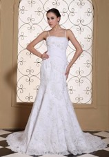 Spaghetti Straps Mermaid Wedding Dress Classic Lace Beaded