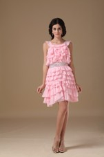 Pink Scoop Chiffon Beading Cocktail Graduation Dresses