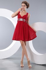 Prom Homecoming Dresses Straps Red Sequins Empire