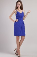Royal Blue Prom Graduation Dresses Short Straps Beading